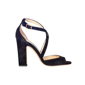 JIMMY CHOO - BLACK SUEDE CARRIE SANDALS