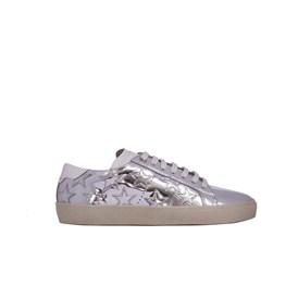 Saint Laurent Paris - SILVER METALLIC LEATHER SNEAKERS