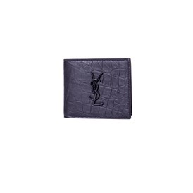 Saint Laurent Paris - CROCODILE EMBOSSED LEATHER WALLET