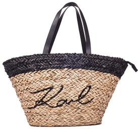 KARL LAGERFELD - STRAW IKONIK SHOPPER BAG