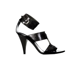 Saint Laurent Paris - Black shiny leather sandals